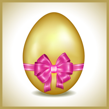 Golden Easter egg with pink ribbon isolated  Element of invitation or greeting card   Vector