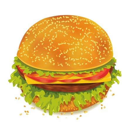 jamon y queso: Sabrosa hamburguesa con tomate, pimienta, queso, jamón y lechuga aisladas sobre fondo blanco
