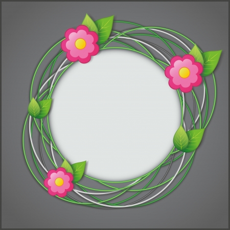 Abstract creative floral background gray with fresh green leaves and flowers  Vector illustration Vector