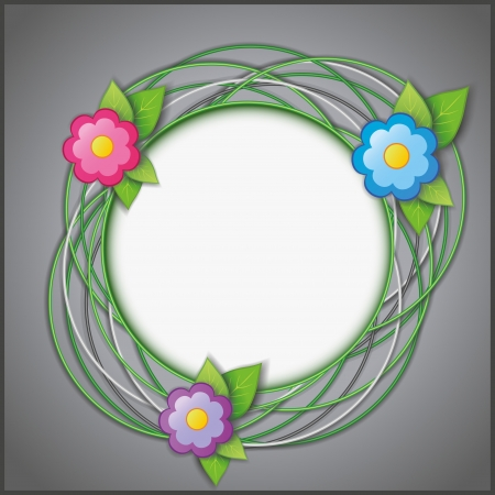 Abstract creative gray background with flowers, fresh green leaves and circle  Vector illustration Vector
