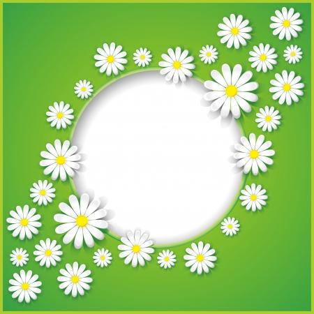 marcos redondos: Resumen creativo primavera o el verano de fondo con ilustración vectorial flores de manzanilla Vectores