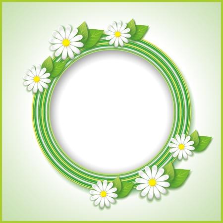 花カモミール, 花のフレーム ベクトル イラストとばねまたは夏のビンテージ背景