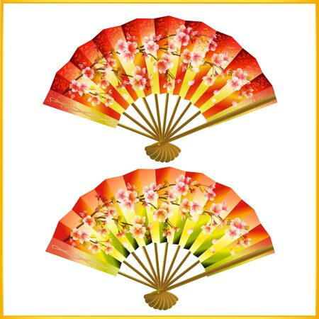 Set of colorful Japanese fans isolated on white background photo