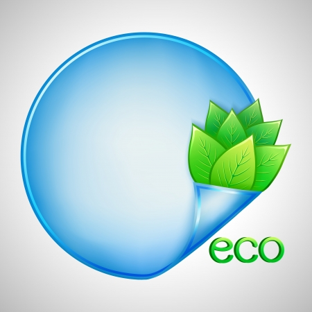 Eco background with green leaves and blue paper, illustration Vector