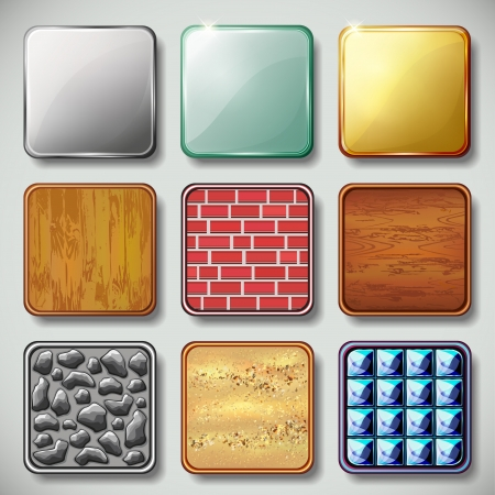 glowing skin: Set of different textured apps icons, design elements  Vector illustration Illustration