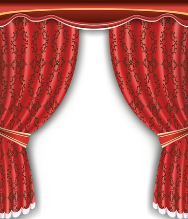 Luxury background with open red curtain  Place for text  Vector illustration Vector