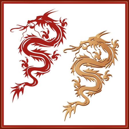 Set of red and golden dragons - symbol of oriental culture, isolated on white background  Dragon tattoo  illustration