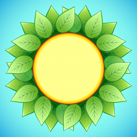 Abstract eco background with stylish sunflower. Decorative frame with green leaves, place for text, illustration Vector