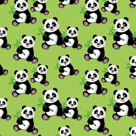 oso panda: Modelo inconsútil con los que se sienta la panda y bambú lindo, ilustración vectorial
