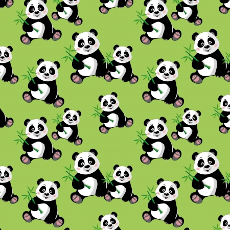 Seamless pattern with sitting cute panda and bamboo, vector illustration Illustration