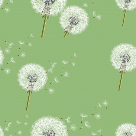 Background seamless pattern green with dandelion, vintage style  Vector illustration