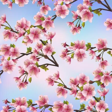 桜木桜のピンクの花 - ベクトル図は日本の桜の木と美しい日本バック グラウンドでシームレスなパターンを背景します。  イラスト・ベクター素材