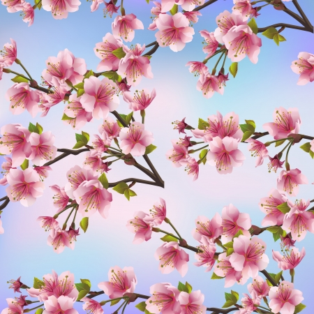 cherry pattern: Background seamless pattern with sakura tree  Beautiful Japanese background with pink sakura blossom - Japanese cherry tree Vector illustration