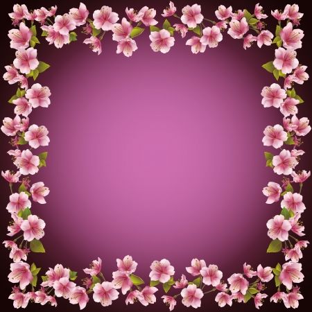 Floral decorative frame, sakura blossom background  Invitation or greeting card, place for text  Vector illustration Vector
