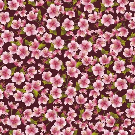flores exoticas: Antecedentes patr�n con sakura flor de cerezo japon�s ilustraci�n vectorial
