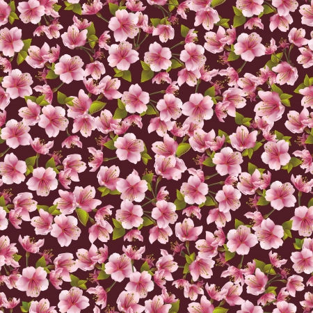 Background seamless pattern with sakura blossom- japanese cherry tree  Vector illustration Vector