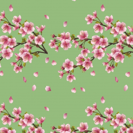 Seamless background with branch of cherry tree  Beautiful Japanese background with sakura blossom - Japanese cherry tree Vector illustration Vector