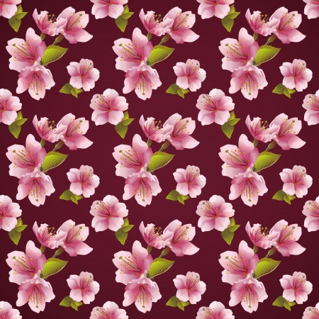 Seamless background with Japanese cherry tree sakura blossom  Elegant floral seamless pattern  Beautiful vector background  Vector