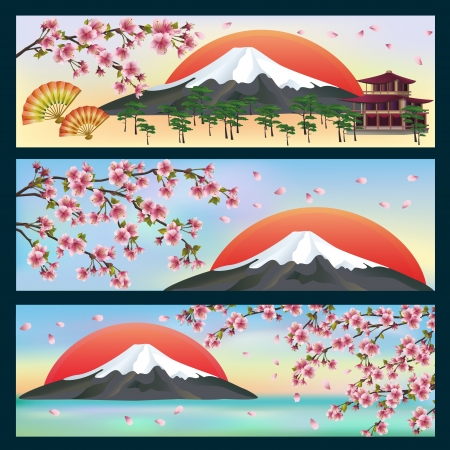 Set of horizontal beautiful banners in japanese style with sakura blossom - japanese cherry tree   Japanese vector background  Vector illustration Vector