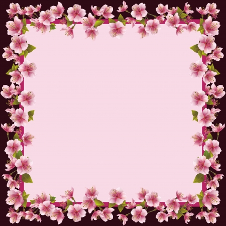 Floral frame with sakura blossom - japanese cherry tree, sakura blossom background  Invitation or greeting card, place for text illustration Vector