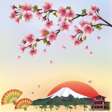 japan culture: Beautiful background in japanese style with sakura blossom - japanese cherry tree  Japanese landscape  illustration Illustration