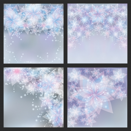 Set of silver backgrounds with flowers  Set of greeting or invitation cards  Festive glowing floral banners Stock Photo - 21171538