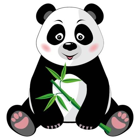 bambou: Assis petit panda mignon avec du bambou vert isolé sur fond blanc Vector illustration, pas de transparence Illustration