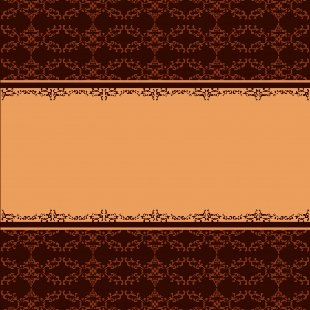 sheet menu: Ornamental background golden - chocolate with pattern and decorative ornament in vintage style  Place for text