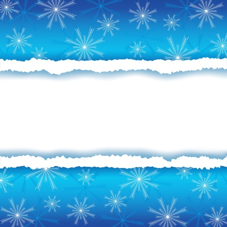 Winter frame with torn paper and snowflakes  Background for New Year and Christmas with place for text illustration