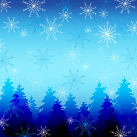 Beautiful winter background with snowflakes and fir trees  Background for New Year and Christmas with place for text  Vector illustration Vector