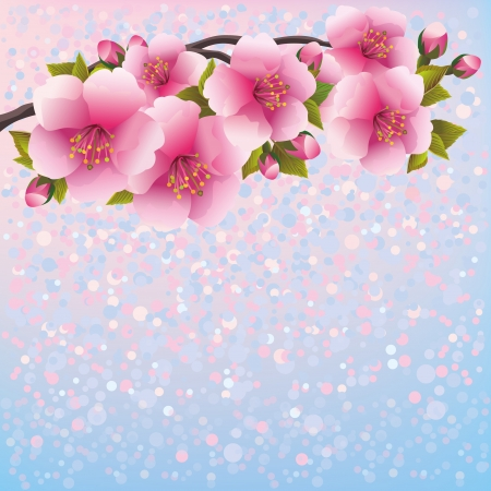 Purple background with sakura blossom - Japanese cherry tree, greeting or invitation card  Floral background, Japanese style  Vector illustration Ilustração