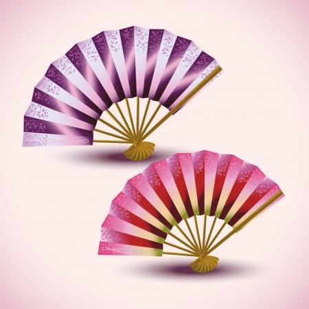 paper folding: Set of beautiful colorful Japanese folding fans isolated, oriental decoration  Vector illustration Illustration