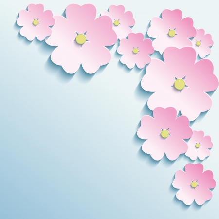asian gardening: Abstract creative background with stylish 3d flowers  Modern vector background  Vector illustration Illustration