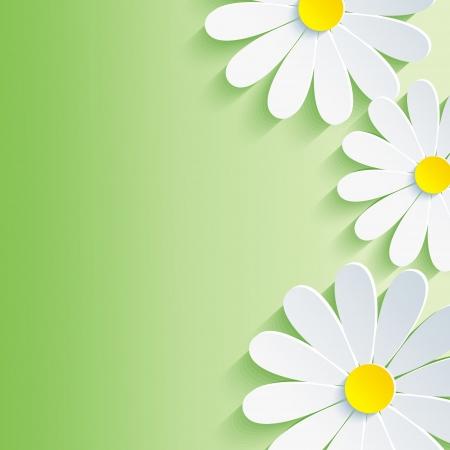 美しい春の抽象的な背景、3 d の花カモミール花ベクトルの背景ベクトル イラスト
