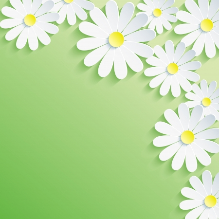 Abstract spring green background with 3d flower chamomile  Vector floral background  Vector illustration illustration