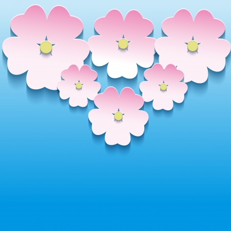 Abstract floral background with 3d flowers sakura, creative floral background  Modern vector background  Vector illustration Stock Vector - 21859226