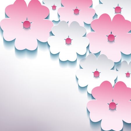Floral abstract stylish background with 3d flower sakura pink and white Stock Vector - 22984872