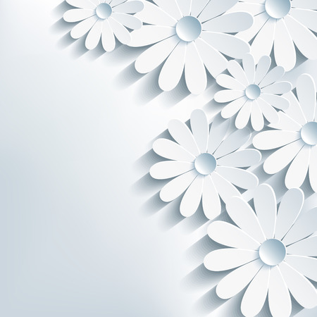 3d flower chamomile, stylish abstract background   Vector