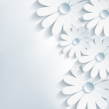 Stylish creative abstract background, 3d flower chamomile Vector