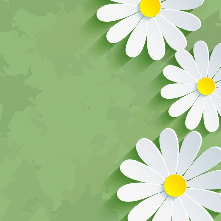 Vintage floral green background with 3d flower chamomile  Invitation or greeting card Vector