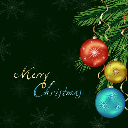 Bright celebratory background with Christmas tree, Christmas balls and decoration, New Year and Christmas card  Beautiful Christmas background  Vector