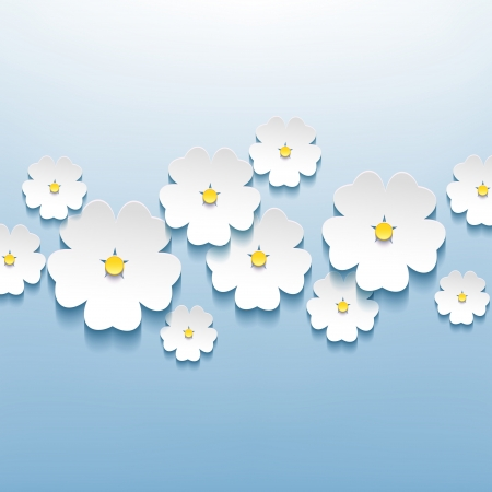 Floral beautiful abstract blue background with 3d flower sakura   Vector