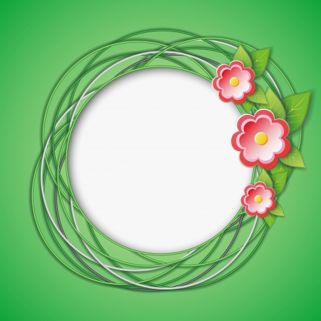3d floral abstract creative background green with fresh green leaves and flowers    Vector