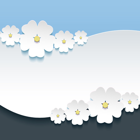 Greeting or invitation card with 3d flowers sakura  일러스트