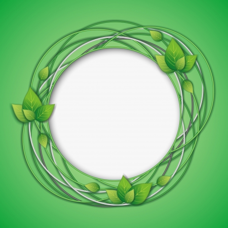 Abstract Eco creative background with fresh green leaves and place for text  Floral frame  Vector illustration Vector