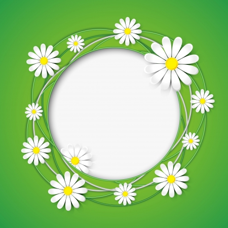 Creative abstract green background with chamomile flower  Floral ornamental frame  Vector illustration Vettoriali