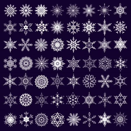 Big set of white ornate snowflakes isolated on dark background  New Year and Christmas design elements  Vector