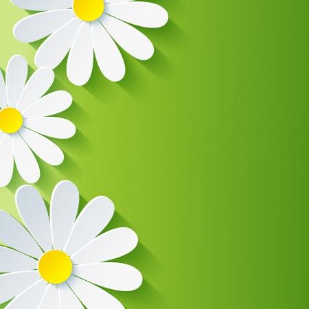 Primavera fundo floral abstrato com 3d flor de camomila fundo Vector