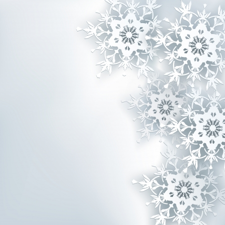 Stylish creative abstract background, 3d snowflake  Winter gray background with white ornate snowflakes  New Year and Christmas celebratory card with place for text  Beautiful winter wallpaper  Vector illustration Vector