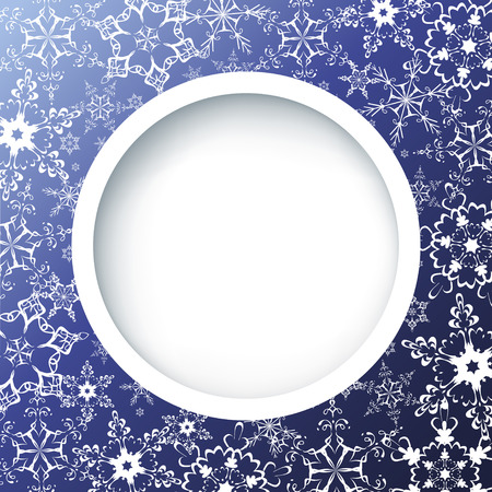 round window: Winter creative background with ornate snowflakes  Winter frame  Blue background with white ornate snowflakes  New Year and Christmas celebratory card with place for text  Vector illustration
